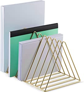 Mindspace Triangle File Holder | Mail Sorter, Book Holder, Home Office Organizer | Gold File Organizer for Desk, Wire Collection