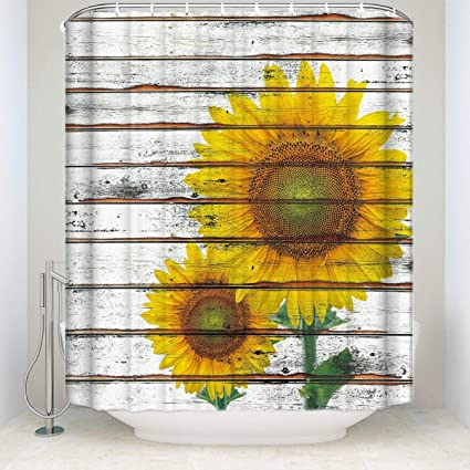 Shower Curtain Extra Long 72 X 96 InchesSunflower CurtainSpring Flowers On