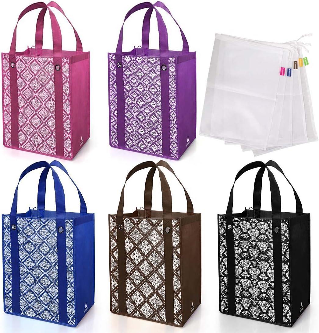 Avery Barn 10pc Damask Reusable Reinforced Grocery Shopping & Produce Bag Set