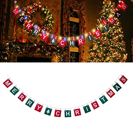 nymph code merry christmas banner with 98ft led photo clip string lights powered by - Merry Christmas Banner