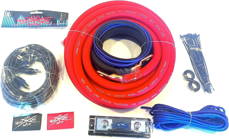 Oversized 1//0 Ga AWG Amp Kit Twisted RCA BLUE Black Complete Sky High Car Audio