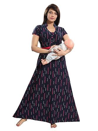 55d23ce8cd 9shines Label Premium Hosiery Cotton Feeding Maternity Nursing Nighty for  Women- Black (