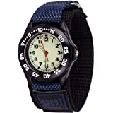 Wolfteeth Grade School Kids Boys Portable Army Military Wrist Watch Time Teacher, Nylon Hook & Loop Strap Navy 304202F