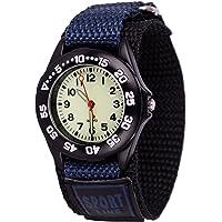 Wolfteeth Grade School Kids Boys Portable Army Military Wrist Watch Time Teacher, Nylon Hook & Loop Strap Navy 304202F