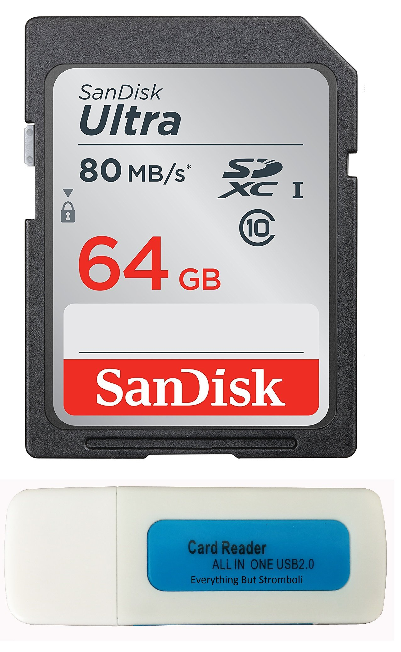 SanDisk 64GB Ultra SDXC Memory Card for Nikon Coolpix L340, B500, A10, L32, S7000, A300, P900, Camera UHS-I Class 10 Up to 80MB with Everything But Stromboli Memory Card Reader (SDSDUNC-064G-GN6IN) by Sandisk