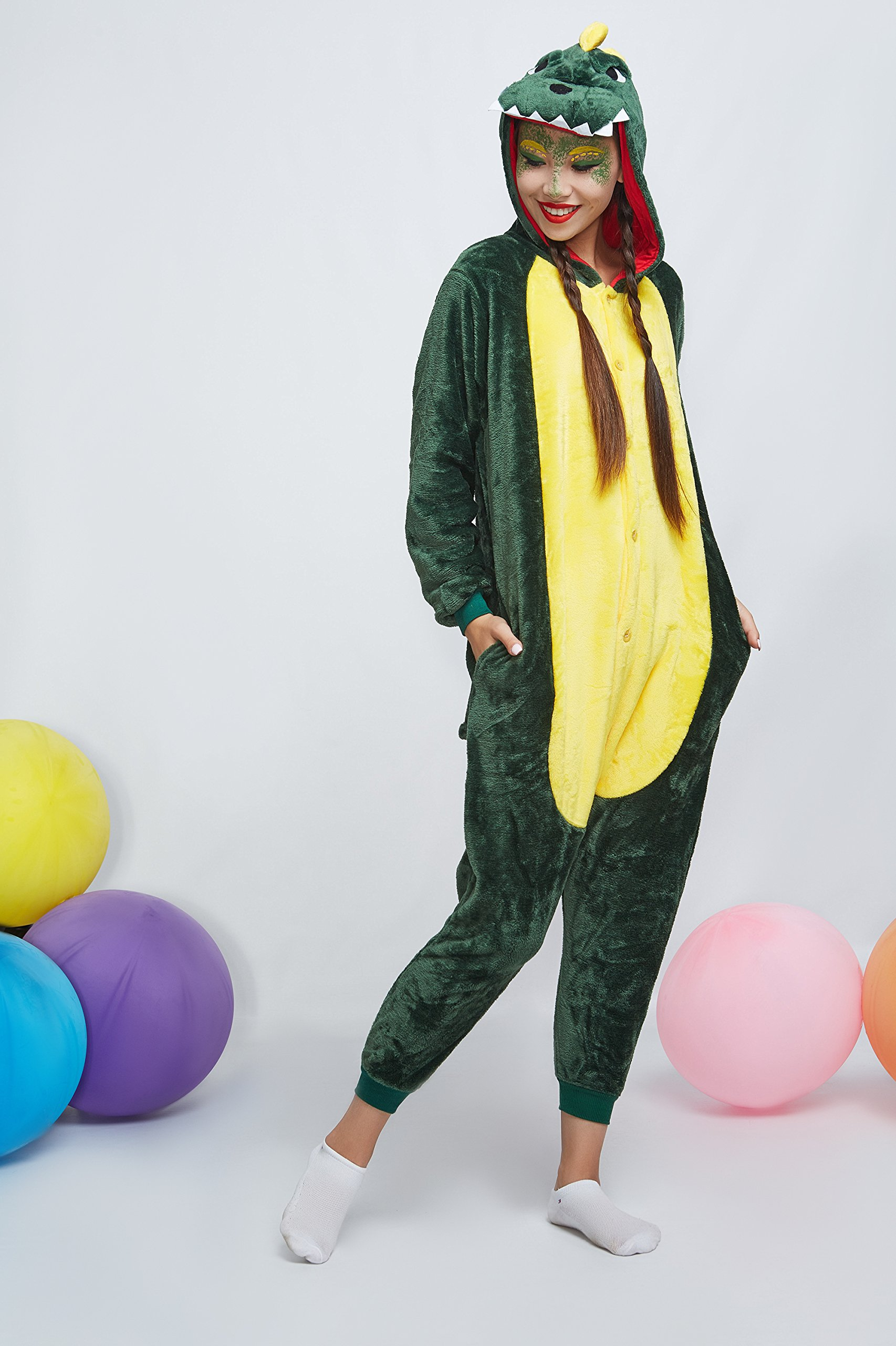 Adult Dragon Kigurumi Animal Onesie Pajamas Plush Onsie One Piece Cosplay Costume (Small, Green) by Nothing But Love (Image #3)