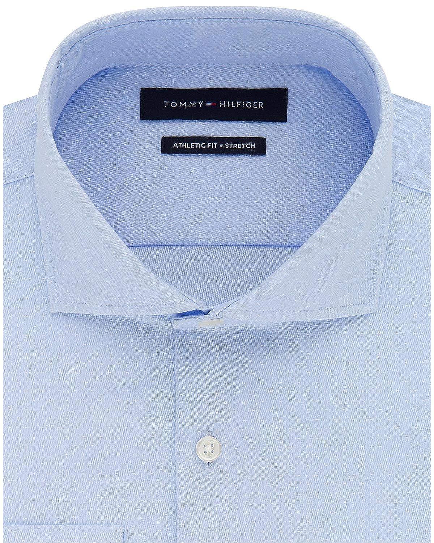 Tommy Hilfiger Mens Fitted Stretch Flex Collar Dress Shirt 16.5 36//37 Light Blue