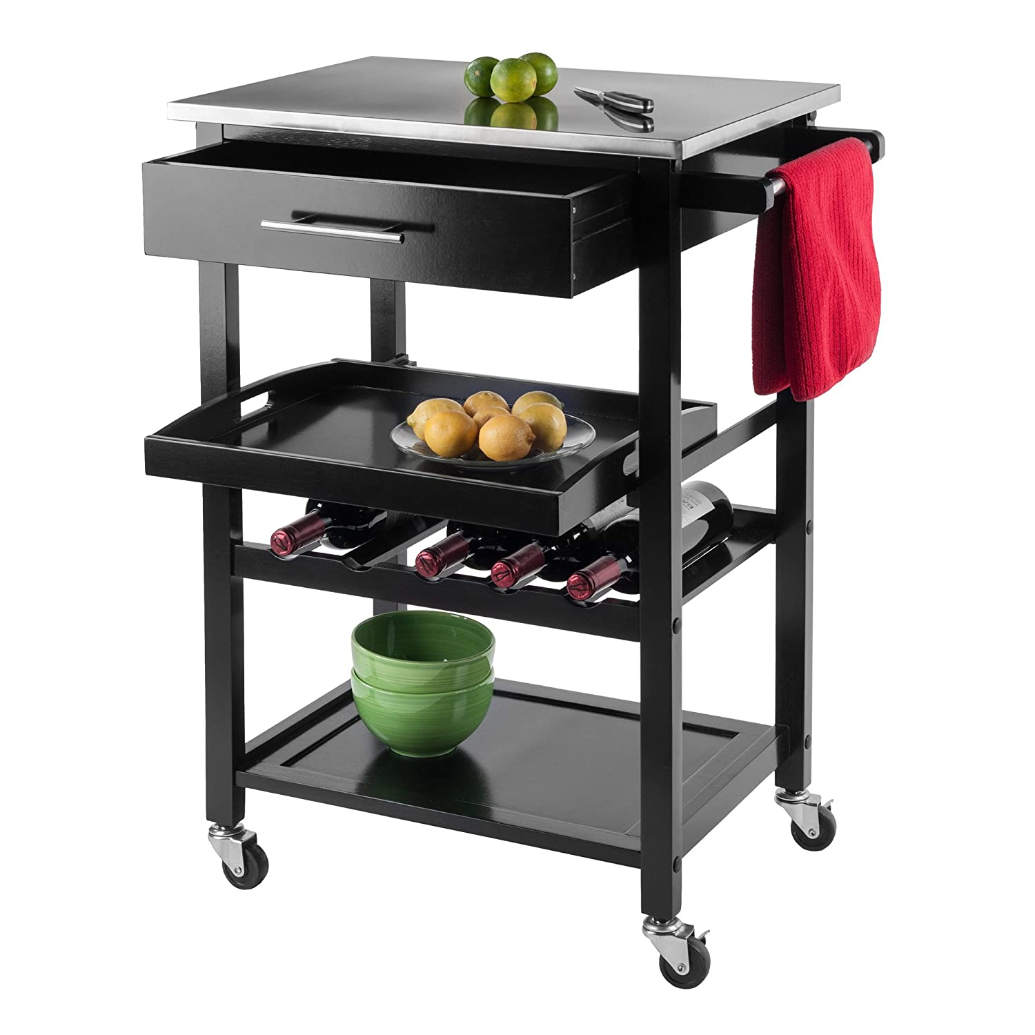 Amazon.com - Winsome Wood Stainless Steel Anthony Kitchen Cart ...