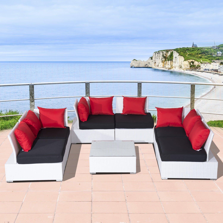 white rattan corner sofa set with cushions ideal home. Black Bedroom Furniture Sets. Home Design Ideas