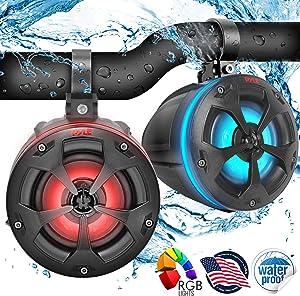 "2-Way Dual Waterproof Off-Road Speakers - 4"" 800W Marine Grade Wakeboard Tower Speakers System w/RGB Lights & Remote, Full Range Outdoor Audio Stereo Speaker for ATV/UTV, Jeep, Boat - Pyle PLUTV44BTR"