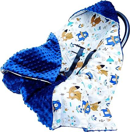 Oferta amazon: Saco para Capazo primavera verano - Saco Carro bebé, sacos universal para capazo Cochecito, minky azul oscuro con algodón con motivos animales