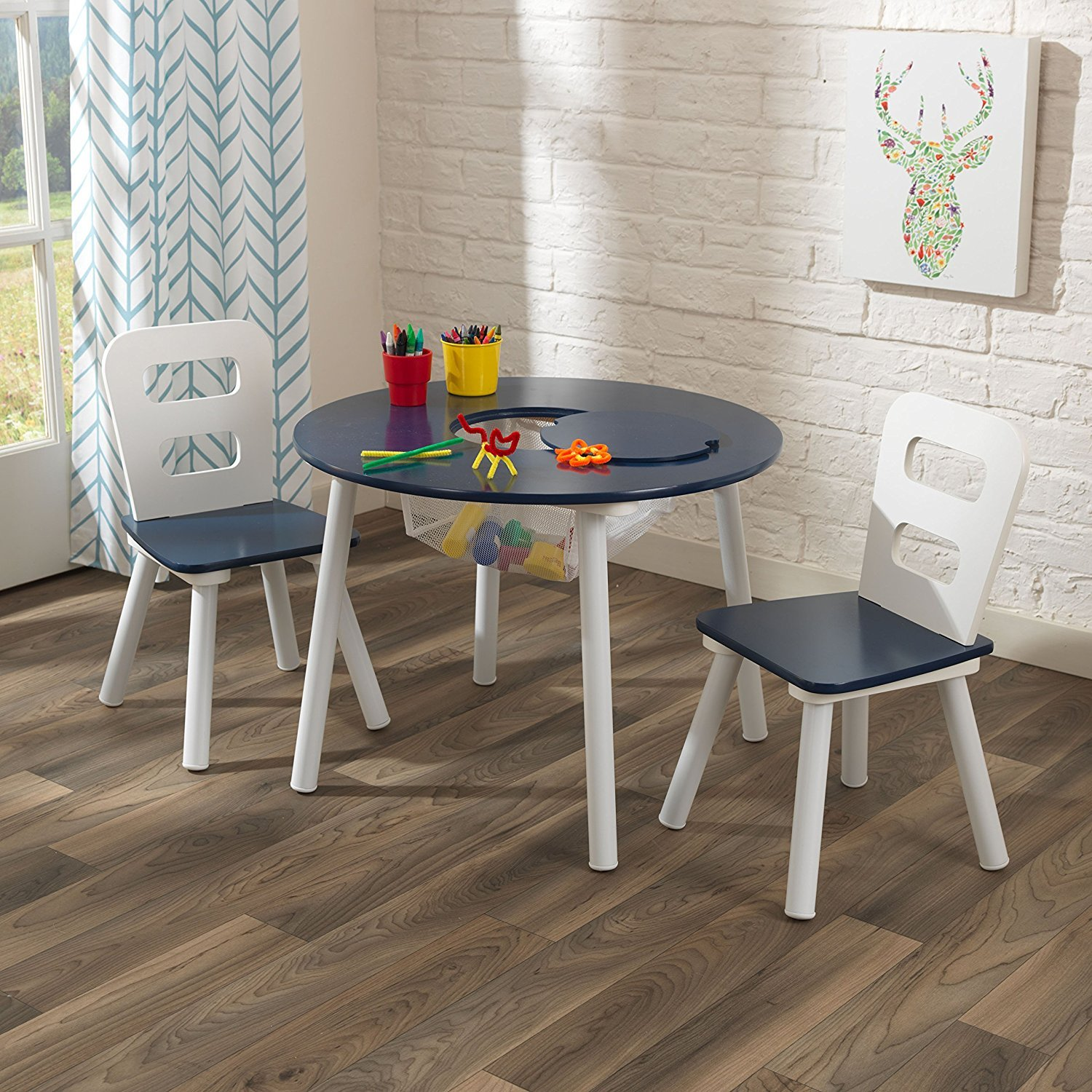 Amazon KidKraft Round Table and 2 Chair Set White Navy
