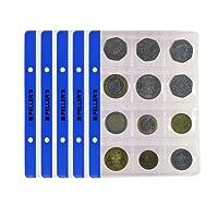 10 Feuilles pour collection de pièces de monnaie, 35mm X 35mm (pour classeur S). 12 Pochettes pour monnaies jusqu'à 28 mm de diamètre.