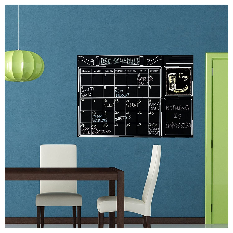 Amazon.com: Large Erasable Chalkboard Calendar Wall Decal Sticker ...