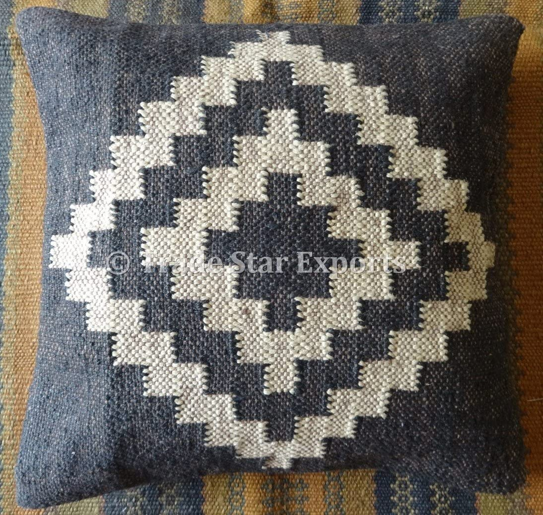 Trade Star Exports Handwoven Kilim Pillow Cover 18x18, Indian Outdoor Cushions, Decorative Throw Pillow Cases, Jute Cushion Cover, Boho Pillow Shams