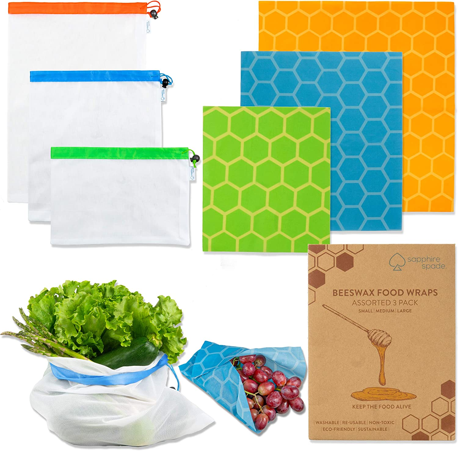 Sapphire Spade Premium Assorted 3 Pack Beeswax Food Wrap and Produce Bags (6 Pack Bundle) | Reusable, Eco Friendly, Sustainable, Plastic Free Alternative Food Storage | Small, Medium, Large Sizes (6)