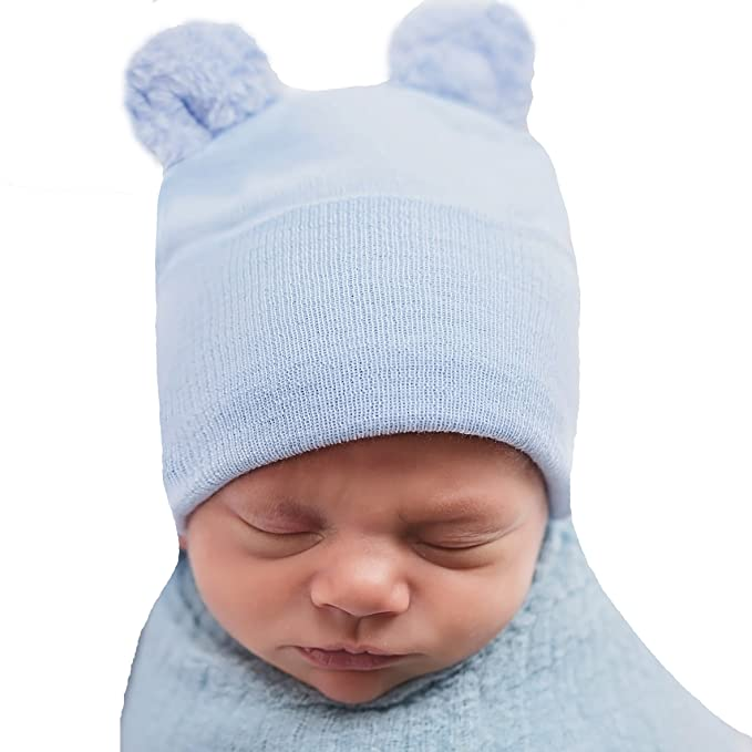 Amazon.com  Melondipity Newborn Boy Fuzzy Bear Ears - Nursery Beanie ... d3eb9b008f9