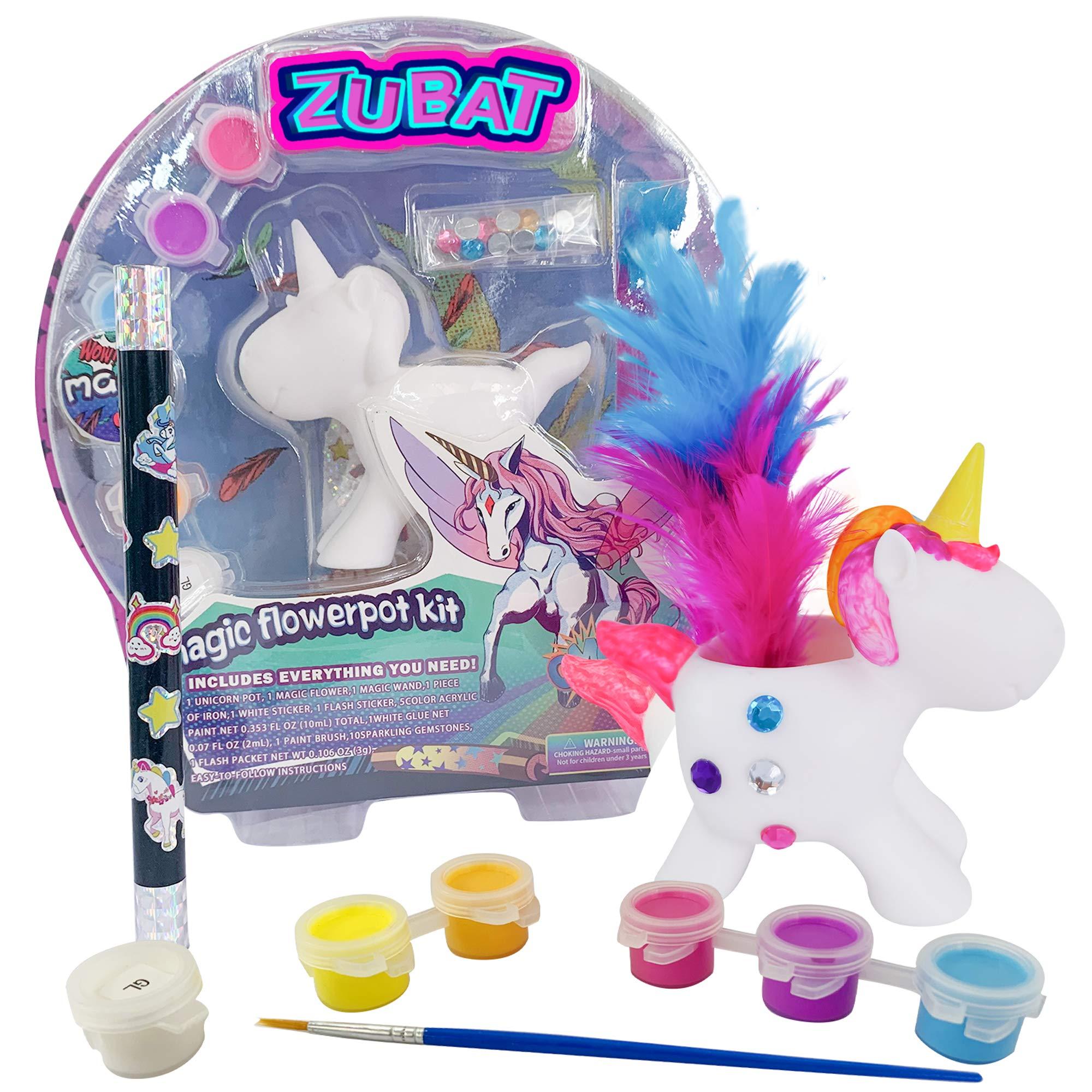 ZUBAT Unicorn Magical Appearing Flower Magic Wand, Easy Magic Tricks Toys for Kids, Magic Flower Pot Kit, DIY Paint Unicorn with Color Acrylic
