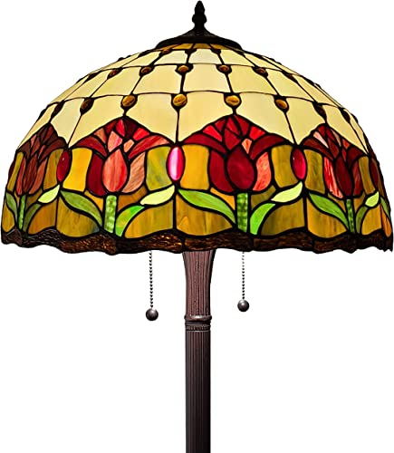 Tiffany Style Standing Floor Lamp 62 Tall Stained Glass Brown Red Green Flower Tulip Antique Vintage Light Decor Bedroom Living Room Reading Gift AM002FL18B Amora Lighting, Multicolor