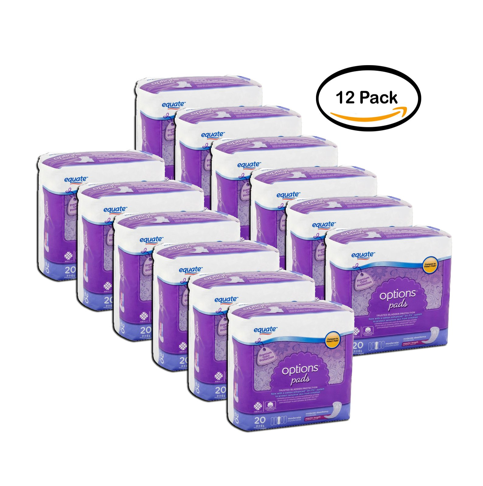 PACK OF 12 - Equate Options Pads, Moderate, 20 ct