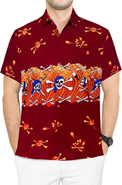LA LEELA Mens Hawaii Aloha Dress Shirt for Casual Wear Beach Luau Shirt Printed