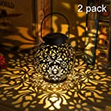 Outdoor Solar Hanging Lantern Lights Metal LED Decorative Lamp for Garden Patio Courtyard Lawn and Table with Hollowed…