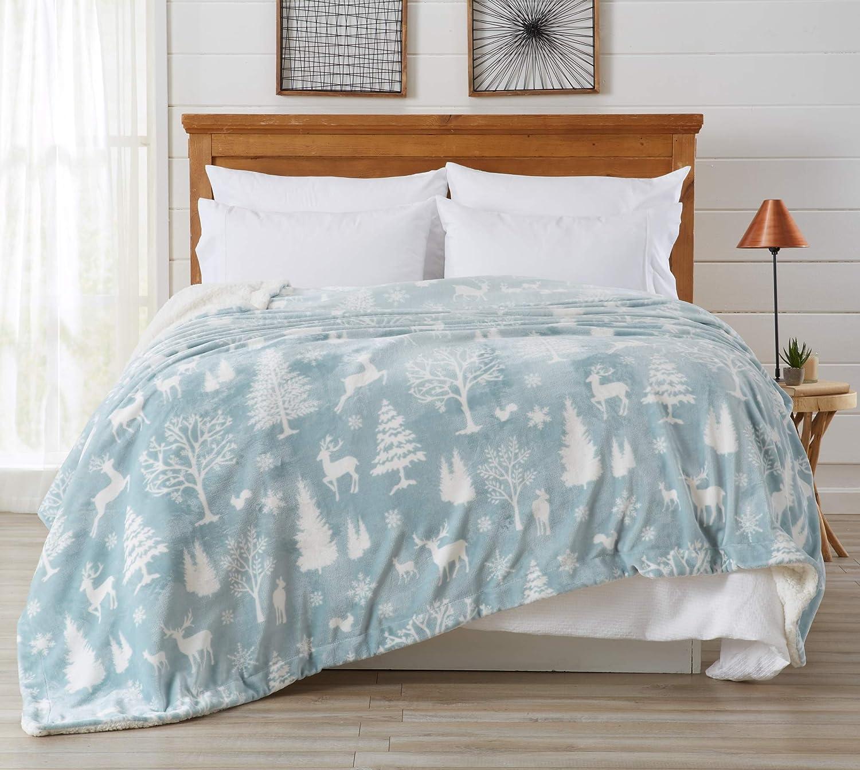 Home Fashion Designs Premium Reversible Sherpa and Fleece Velvet Plush Blanket. Fuzzy, Soft, Warm Berber Fleece Bed Blanket. (Twin, Enchanted Woods - Blue)