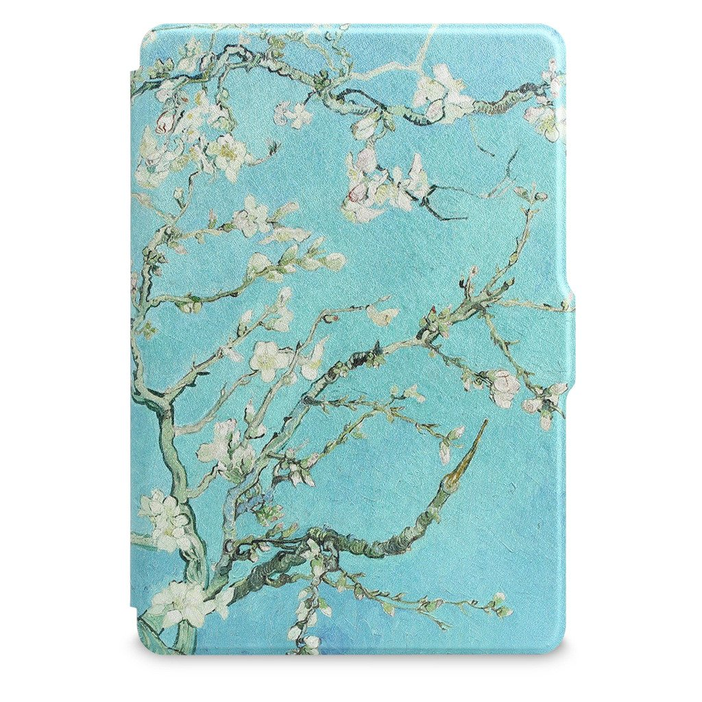 Walnew Protective case for Amazon Kindle Voyage(2014) The Thinnest and Lightest Colorful Painting PU Leather Cover with Auto Sleep/Wake Function,Tree and Flower by WALNEW (Image #9)