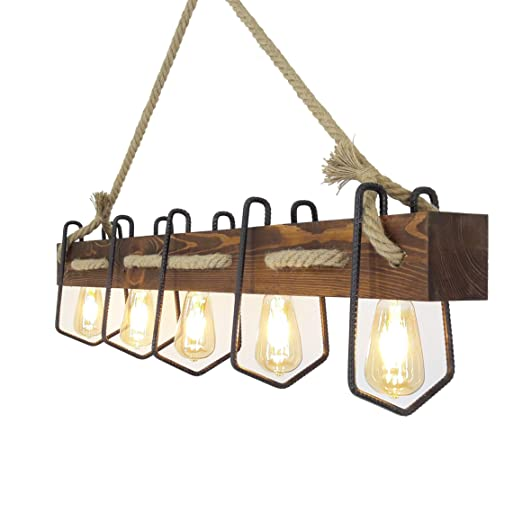 Fienzi | Lámpara de Techo de Madera Industrial Decorativa ...