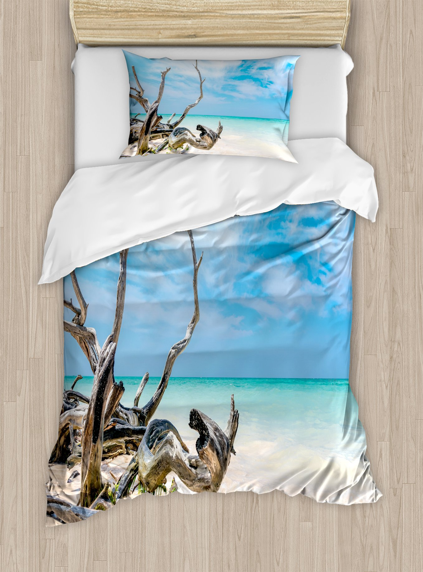 Ambesonne Driftwood Duvet Cover Set Twin Size, Seascape Theme Branches on The Sandy Beach of Cuba and The Sky Image, Decorative 2 Piece Bedding Set with 1 Pillow Sham, Turquoise Sky Blue by Ambesonne (Image #1)