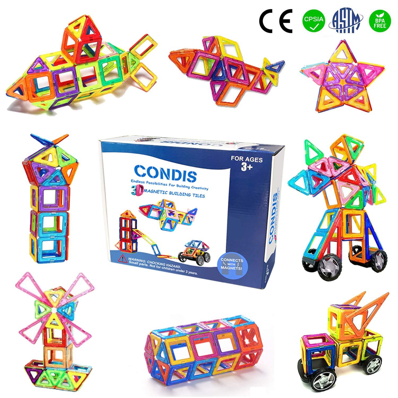 Condis Bloques de Construcción Magnéticos para niños, Juegos de Viaje Construcciones Magneticas imanes Regalos cumpleaños Juguetes Educativos para ...
