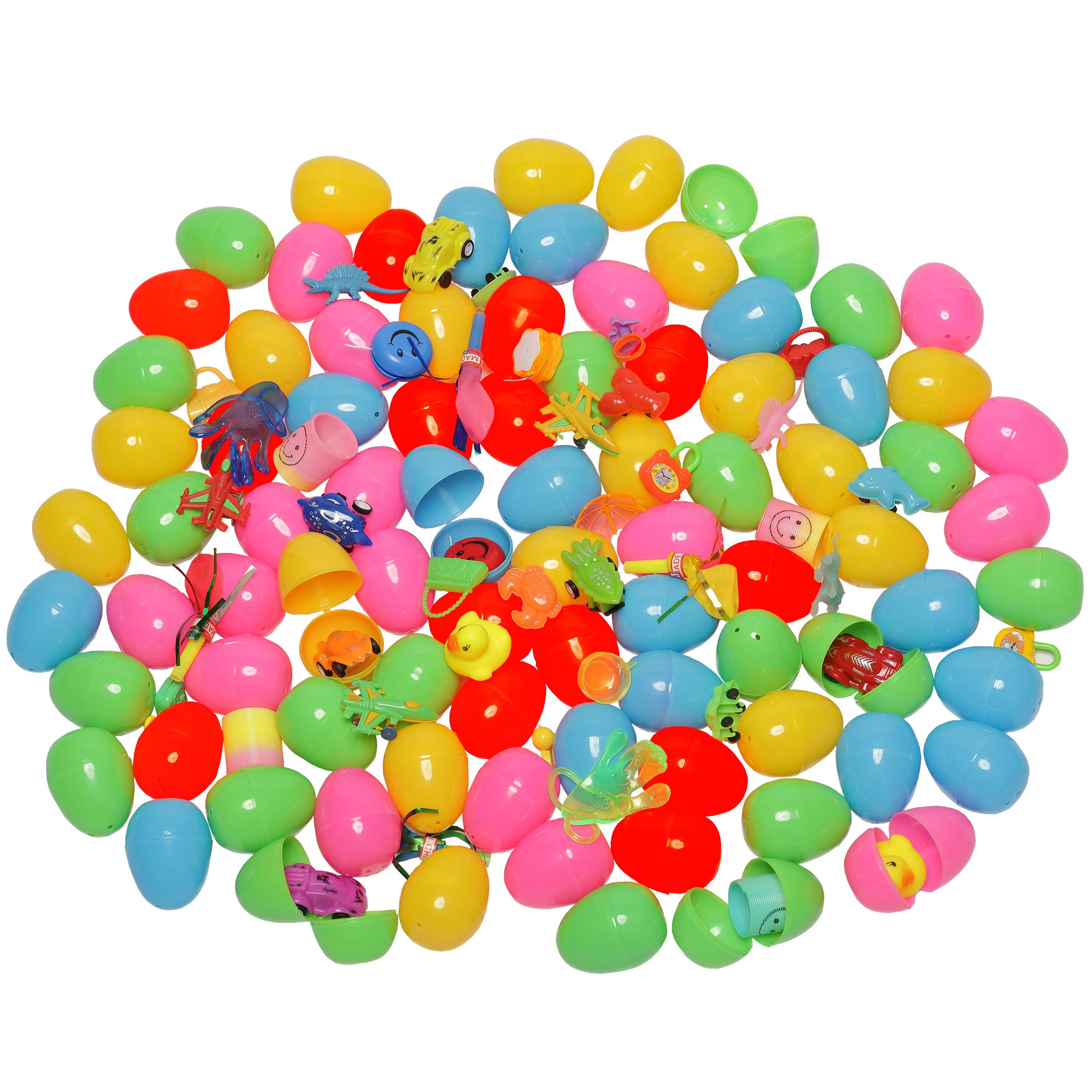 TEEHOME 100 Toys Filled Surprise Eggs - 2.5 Inches Bright Colorful Plastic Easter Eggs with 24 Kinds of Popular Toys for Girls and Boys