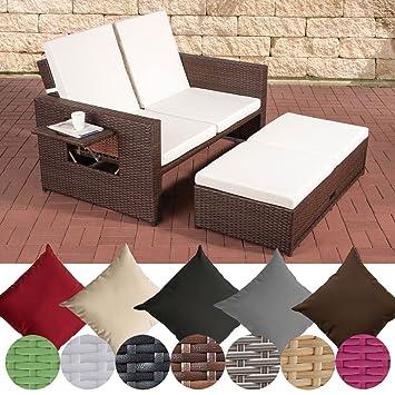 Amazon.de: CLP flexibles Poly-Rattan 2er Lounge-Sofa ANCONA, ALU ...