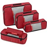 Travel Packing Cubes, Gonex Luggage Organizers L+M+2Slim+Laundry Bag Red