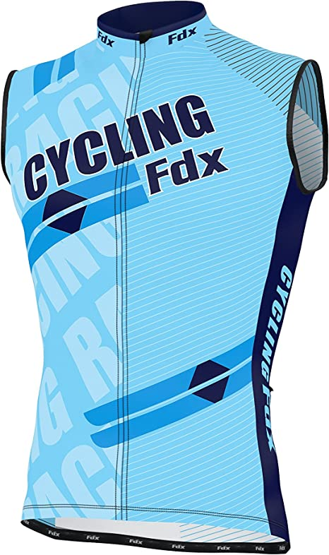 FDX Mens Sleeveless Cycling Jersey Team Racing Cycle Top Breathable Biking Shirt