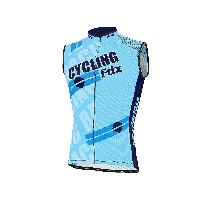 FDX senza maniche da ciclismo da uomo in Jersey traspirante, da uomo, per ciclismo, corsa Team-Maglia per ciclismo