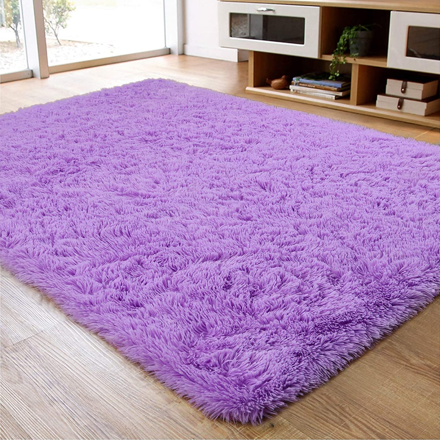 Soft Fluffy Area Rug for Living Room Bedroom, 5x8 Purple Plush Shag Rugs with Non-Slip Backing, Fuzzy Shaggy Accent Carpets for Kids Girls Rooms, Modern Apartment Nursery Dorm Indoor Furry Decor