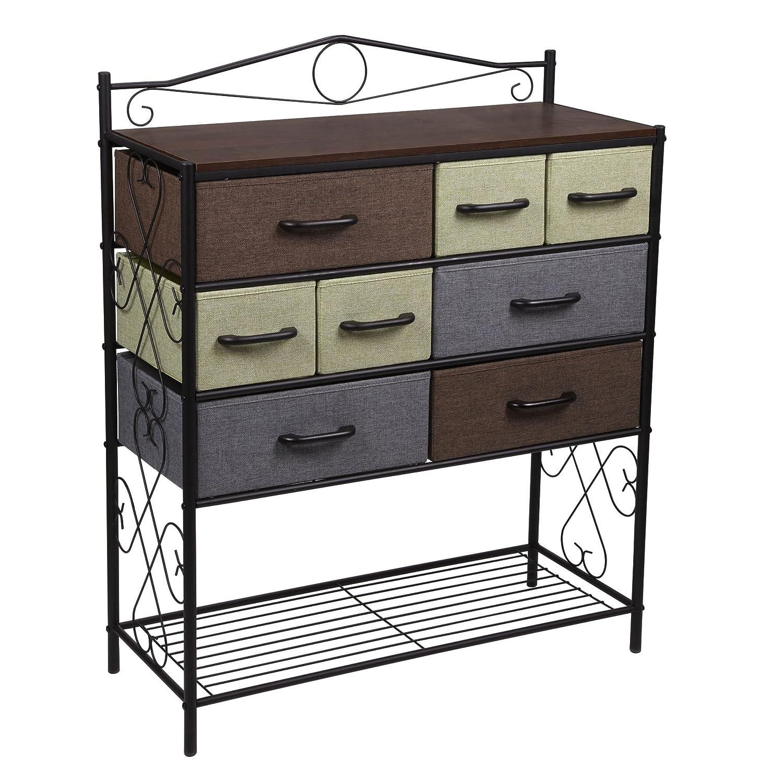 Amazon.com: Household Essentials Victorian 8 Drawer Chest | Storage Dresser  Or Entryway Table | Black: Home U0026 Kitchen