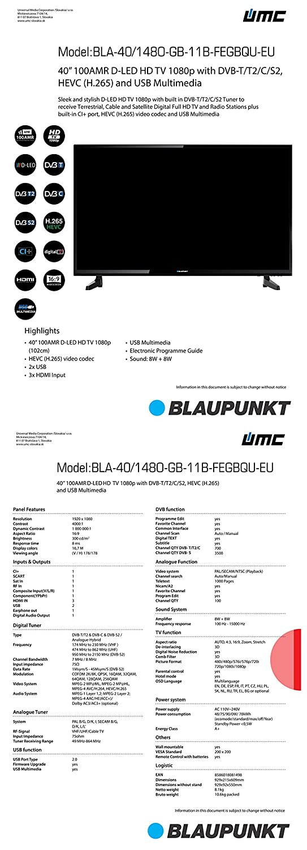 Blaupunkt BLA-40/148O-GB-11B-FEGBQU-EU 102 cm (40 Zoll