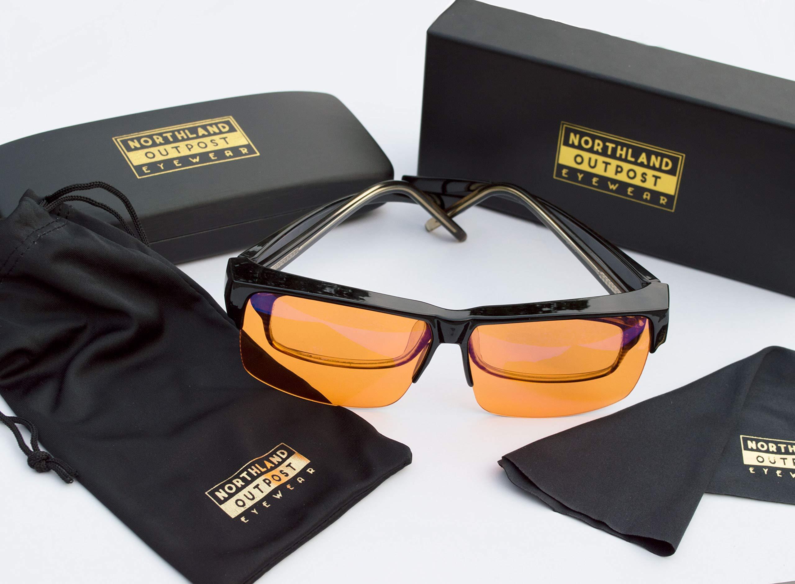 Blue Light Blocking Computer Glasses - FIT OVER Reading - To SLEEP BETTER Wear Orange Lens at Night for Insomnia - Anti Glare for Migraine, Headache, Eye Strain Relief - Men, Women, Gamer - Gaming Set