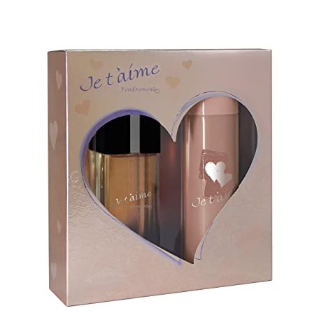 JE T AIME Tendrement • Coffret pour Femme • Eau de Parfum 100 ml +  Déodorant 150 ml • Vaporisateur • Spray • Parfum Femme • Cadeau • ... 67310d868a7