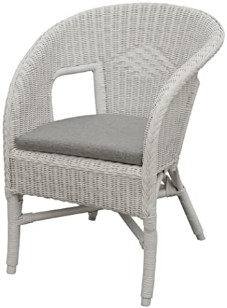 Incredible Korb Outlet Bella Rattan Chair In White With Cushion Ncnpc Chair Design For Home Ncnpcorg
