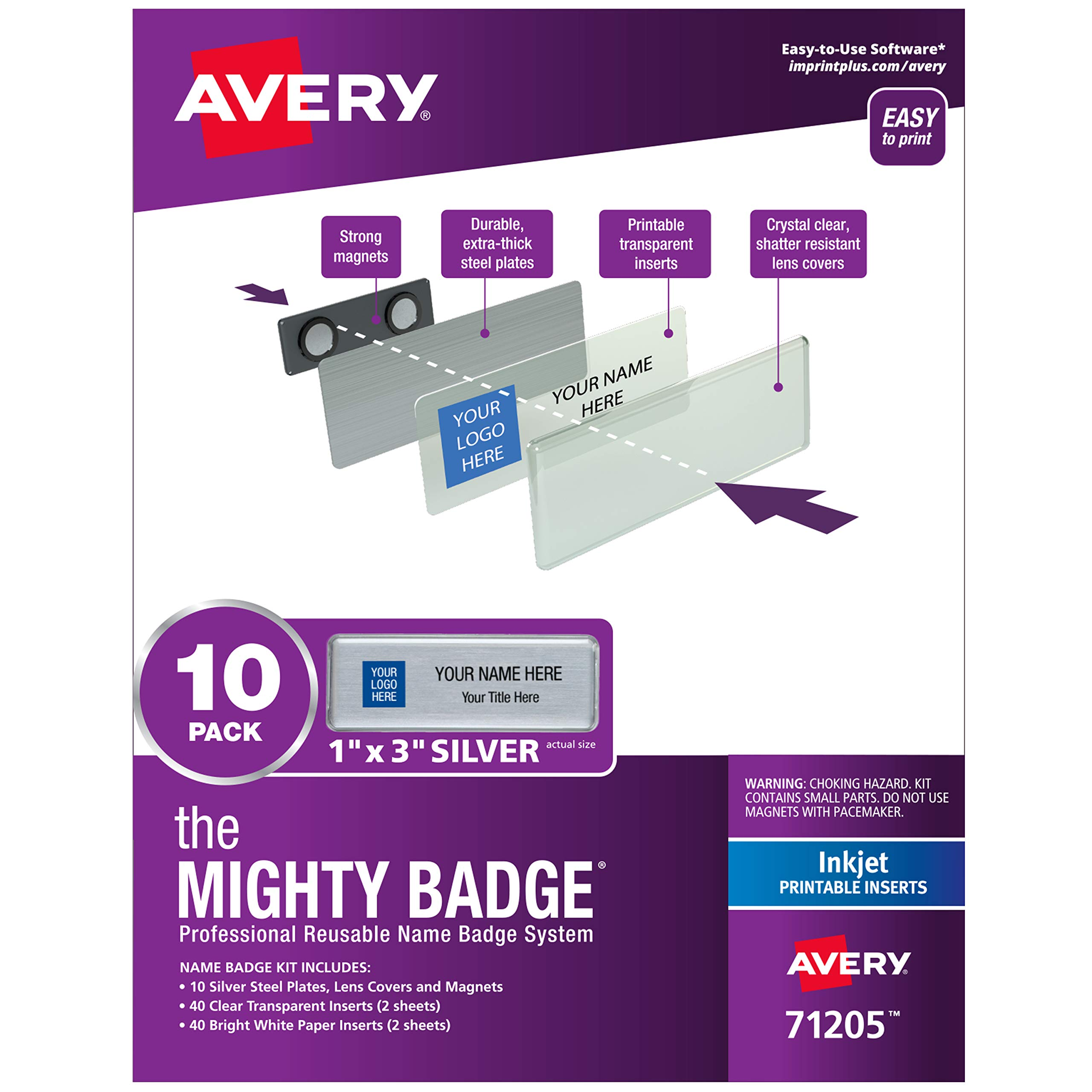 The Mighty Badge by Avery, 1'' x 3'' Magnetic Name Tags, 10 Silver Name Badges, 80 Customizable Inserts (71205) by AVERY