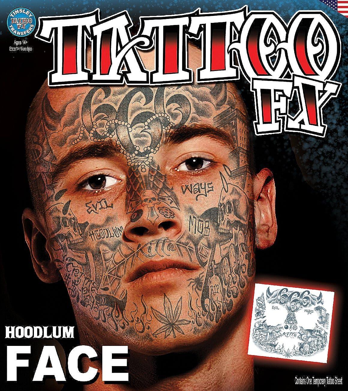 9e666b363 Amazon.com: Tinsley Transfers Hoodlum Face Tatttoo Temporary Tattoo:  Clothing