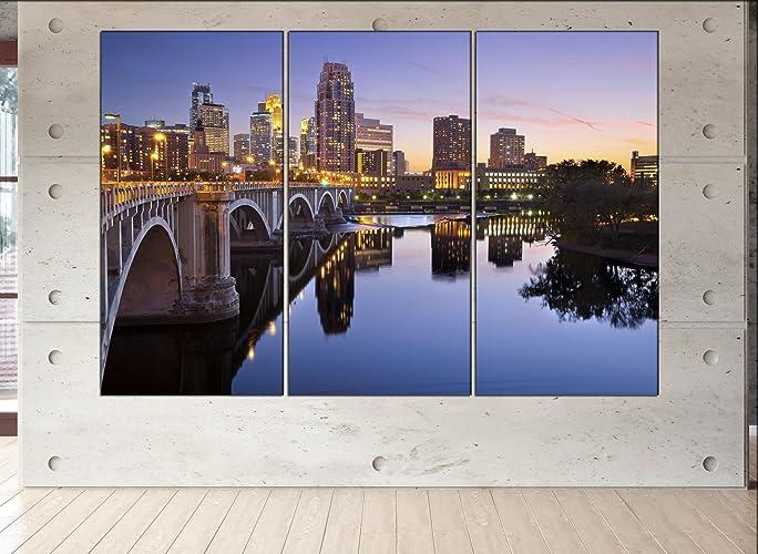 Amazon.com: Minneapolis skyline canvas Minneapolis wall art ...
