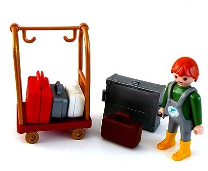 playmobil ® - Hotel Kofferwagen Koffer Transport - Gepäckservice - mit Koffern und Träger