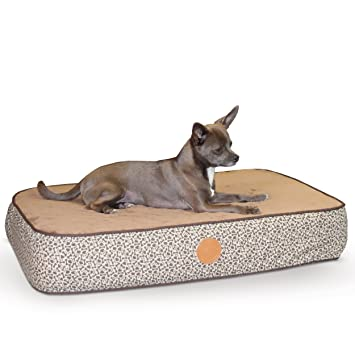 "K&H Pet Products Superior Orthopedic Pet Bed Small Mocha Paw/Bone Print 20"" ..."