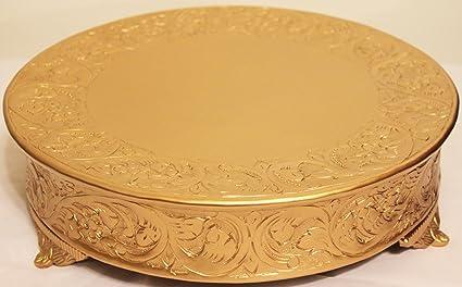 Belmont 14 Inch Matte Gold Round Wedding Cake Stand Plateau