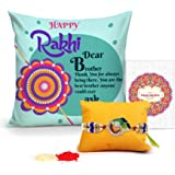 Tied Ribbons Rakhi Gifts For Brother Printed Cushion(12 Inch X 12 Inch) With Rakhi And Roli Chawal Pack For Men/Boys