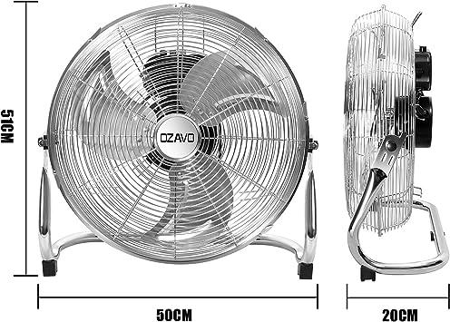 80W di Potenza Max Assorbita 3-Livelli di Potenza OZAVO Macchina del Vento//LOriginale Superventilatore//Ventilatore da 50cm Argento